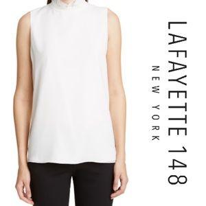 Lafayette 148 Charlene Ruffle Neck Silk Blouse
